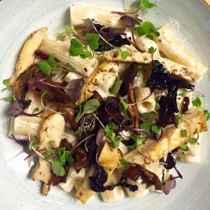 Penne rigate con salsa de setas y tiras de pollo marinadas, vía Granja Petitbo